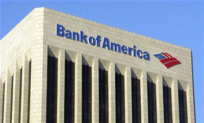 Bank of America is pictured atop the Bank of America building