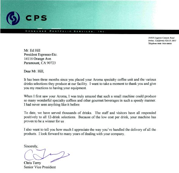 Testimonial Letter - Brokerage Portfolio Services - Office Coffee ...