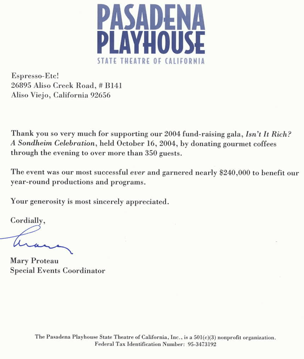 Testimonial Letter From Pasadena Playhouse Fundraiser - coffee delivery service.