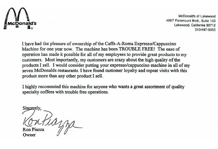 Testimonial from McDonalds Restaurant, fast food coffee machine.